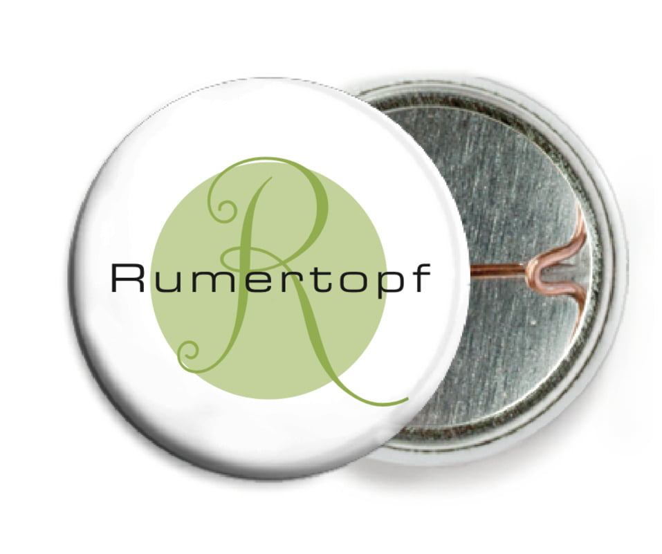 custom pin back buttons - green tea - riva (set of 6)