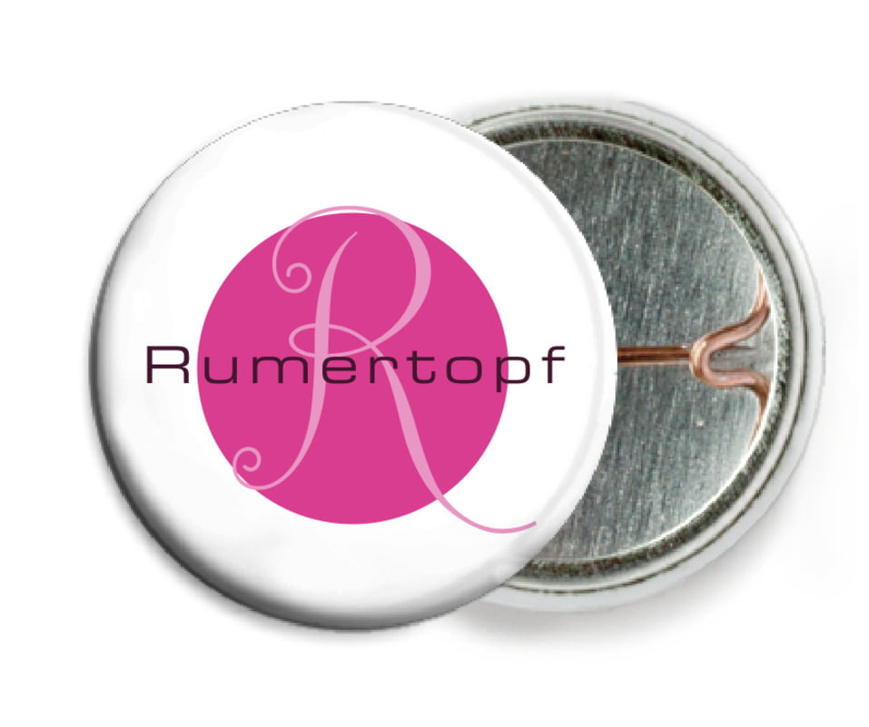 custom pin back buttons - bright pink - riva (set of 6)