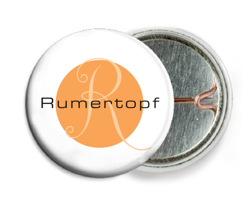 custom pin back buttons - tangerine - riva (set of 6)