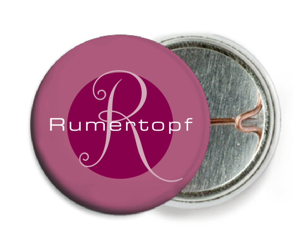 custom pin back buttons - burgundy - riva (set of 6)