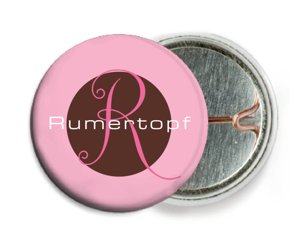 custom pin back buttons - cocoa & pink - riva (set of 6)