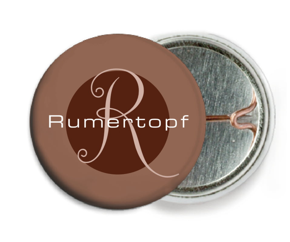 custom pin back buttons - chocolate - riva (set of 6)