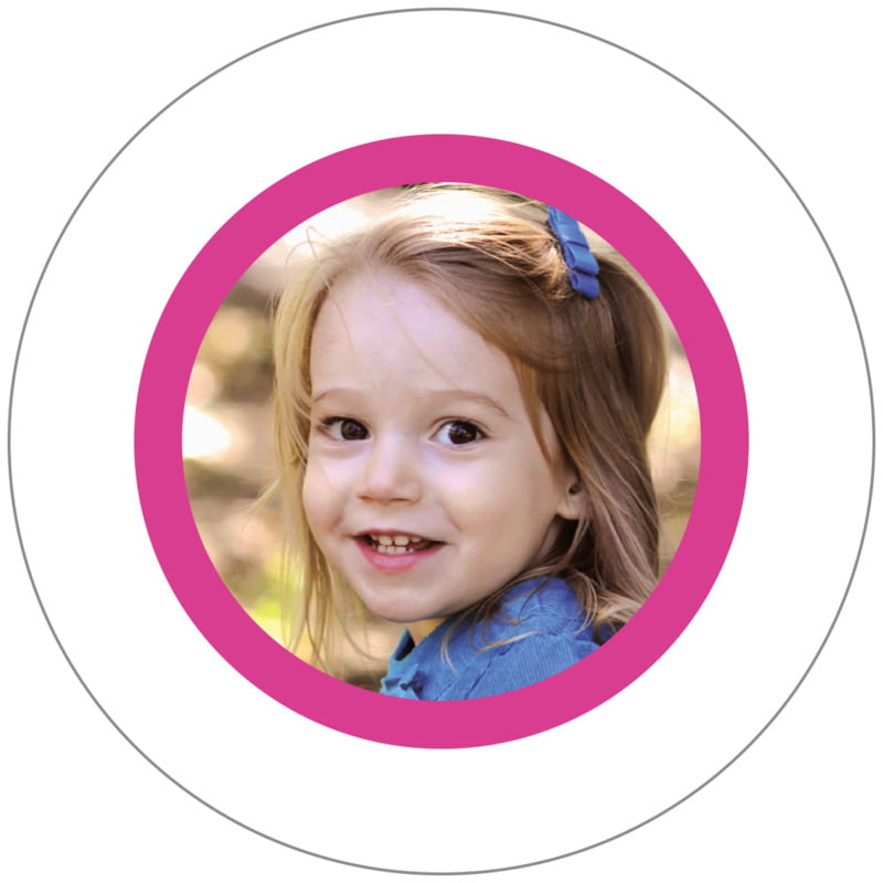 circle photo labels - bright pink - riva (set of 20)