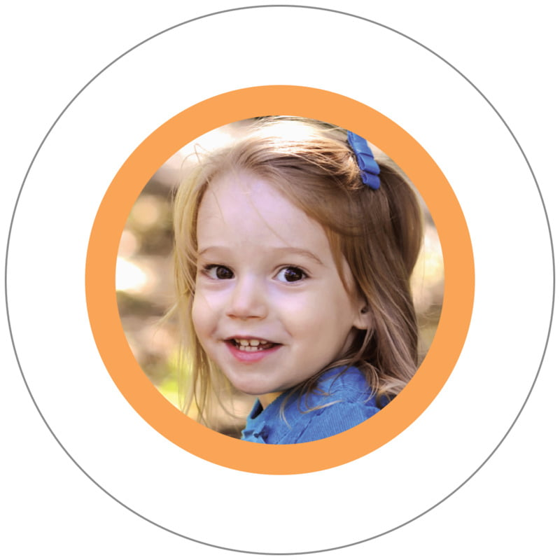 circle photo labels - tangerine - riva (set of 20)