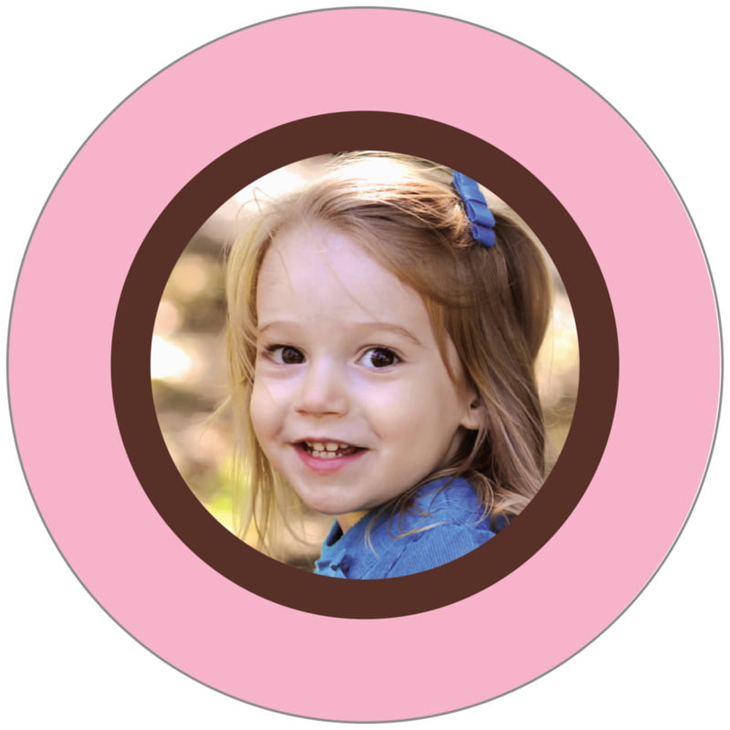 circle photo labels - cocoa & pink - riva (set of 20)