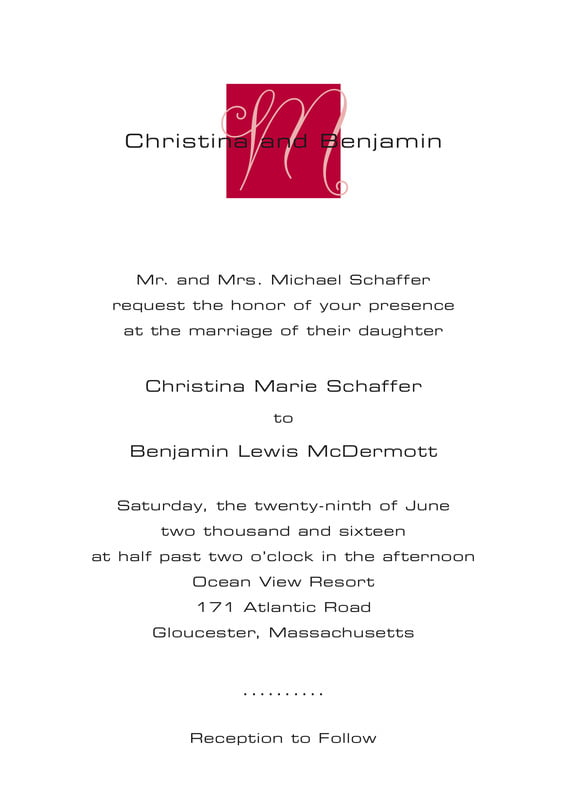 custom invitations - deep red - riva (set of 10)
