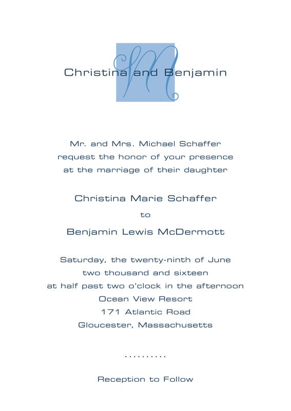 custom invitations - blue - riva (set of 10)