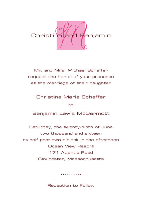 custom invitations - pale pink - riva (set of 10)