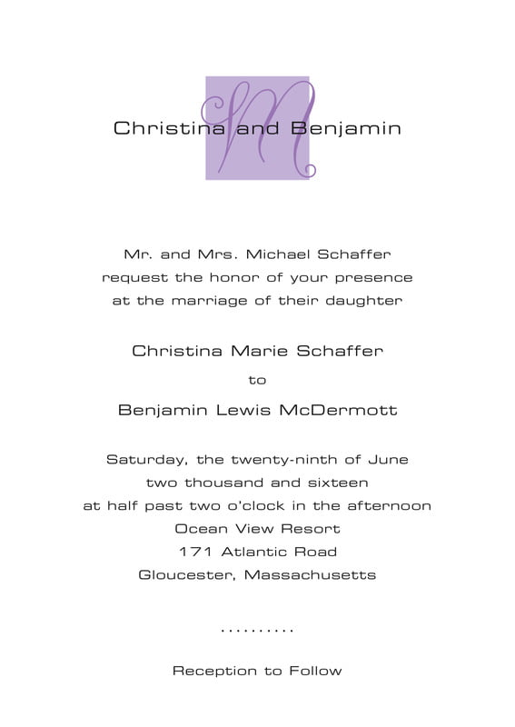 custom invitations - lilac - riva (set of 10)