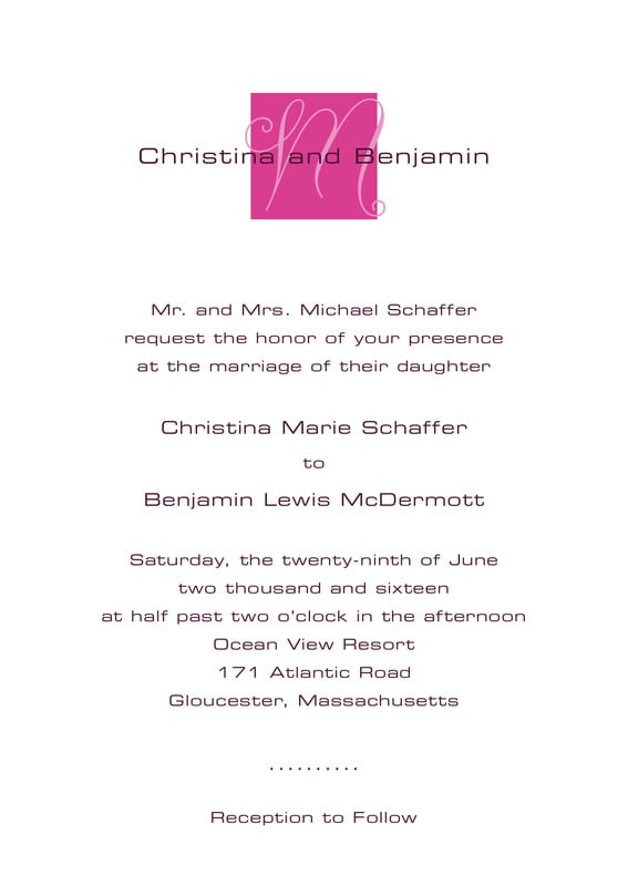 custom invitations - bright pink - riva (set of 10)