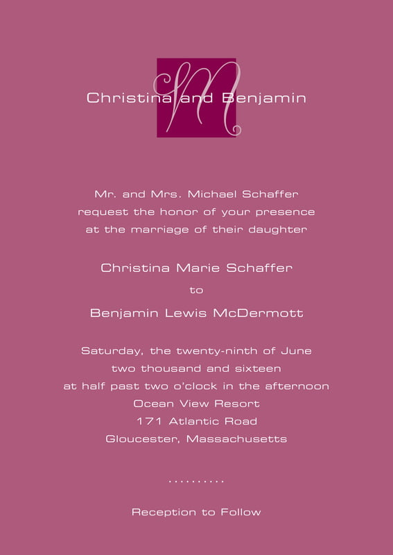 custom invitations - burgundy - riva (set of 10)