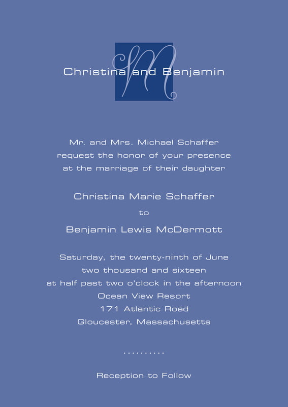 custom invitations - deep blue - riva (set of 10)