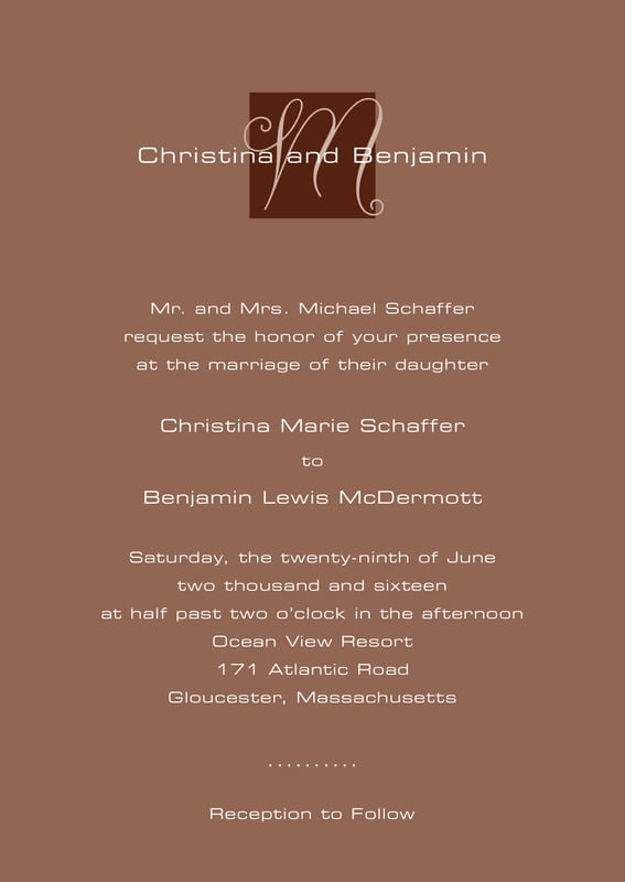 custom invitations - chocolate - riva (set of 10)