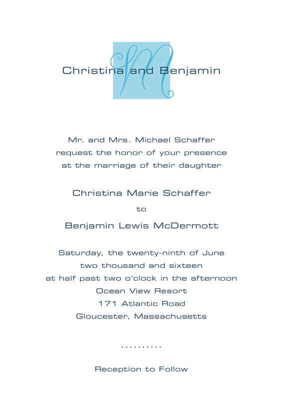 custom invitations - sky - riva (set of 10)