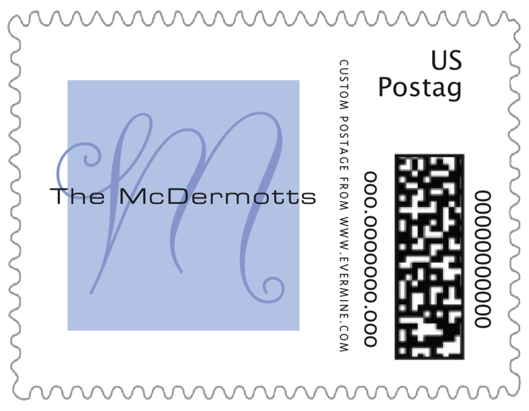 small custom postage stamps - periwinkle - riva (set of 20)