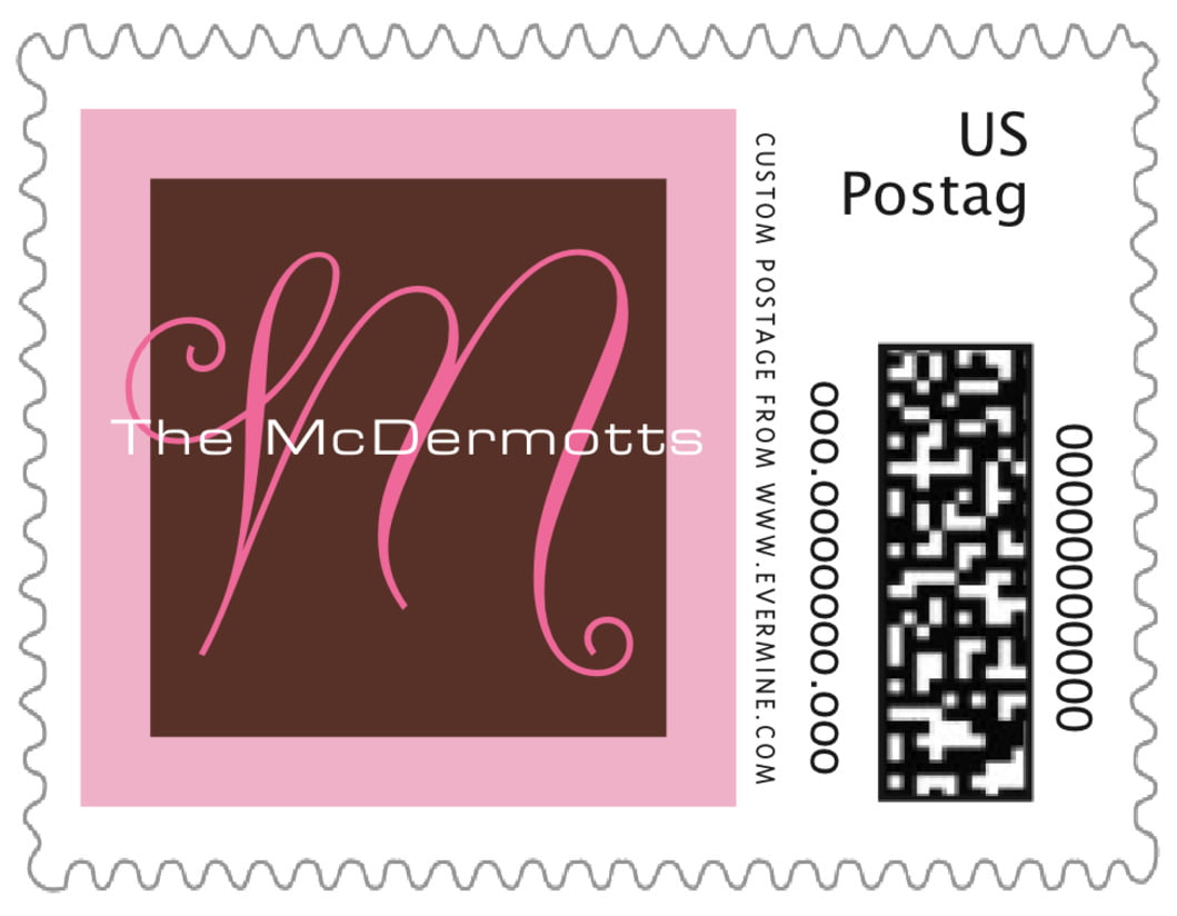 small custom postage stamps - cocoa & pink - riva (set of 20)