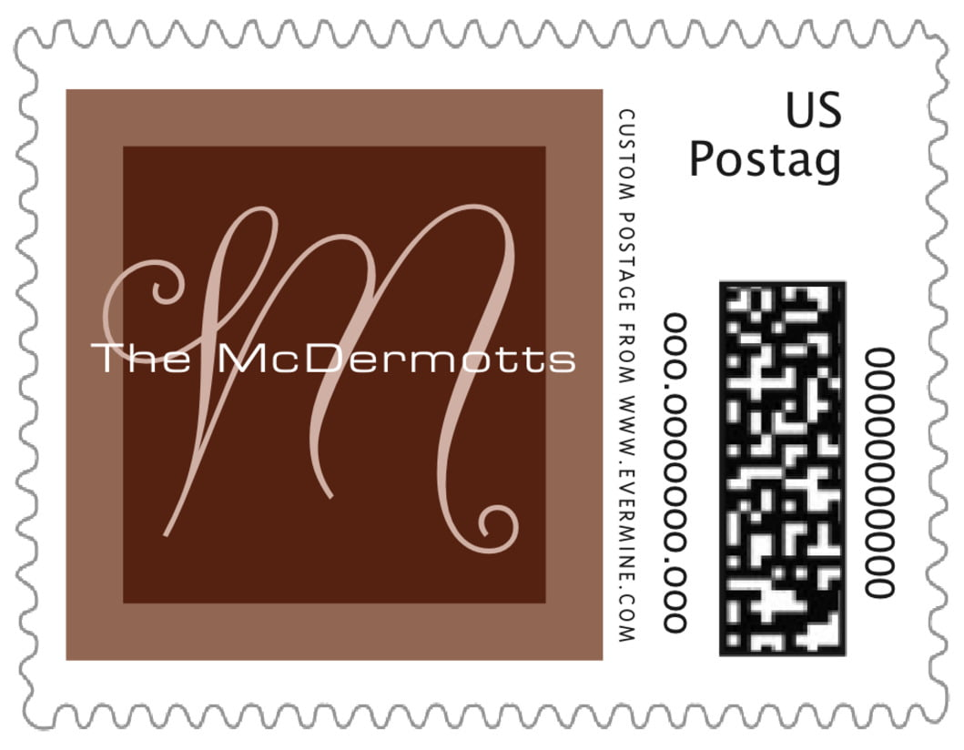 small custom postage stamps - chocolate - riva (set of 20)