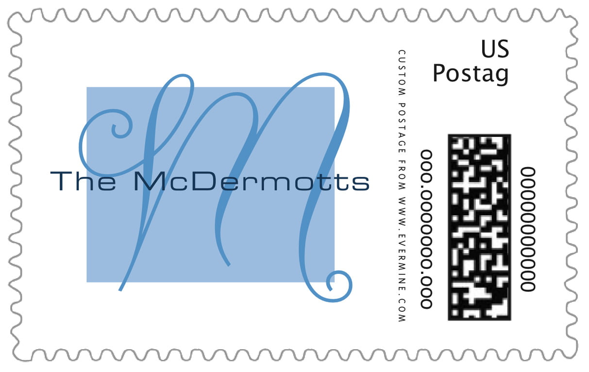 custom large postage stamps - blue - riva (set of 20)