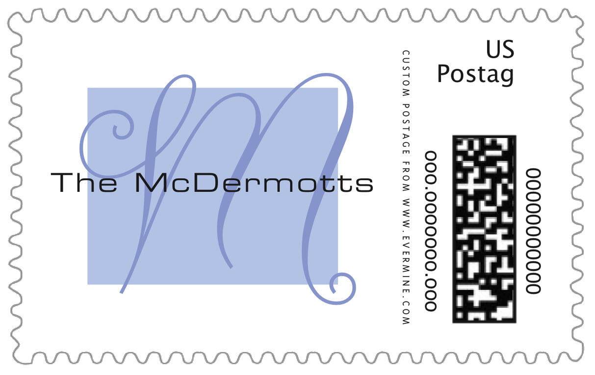 custom large postage stamps - periwinkle - riva (set of 20)