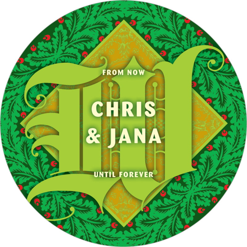 round holiday coasters - green - raj (set of 12)