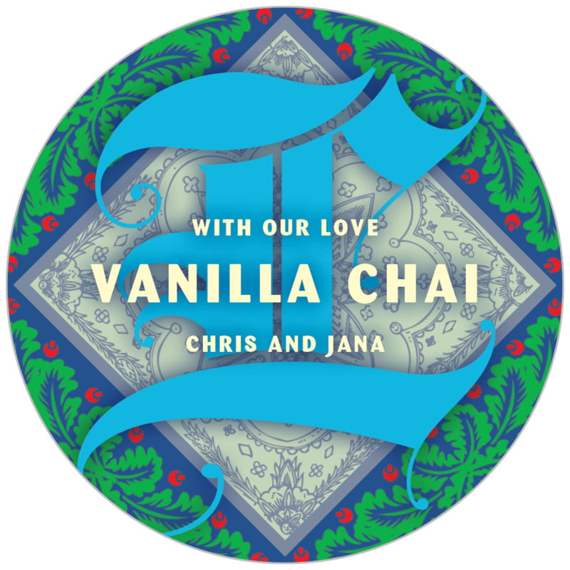 circle food/craft labels - blue - raj (set of 20)