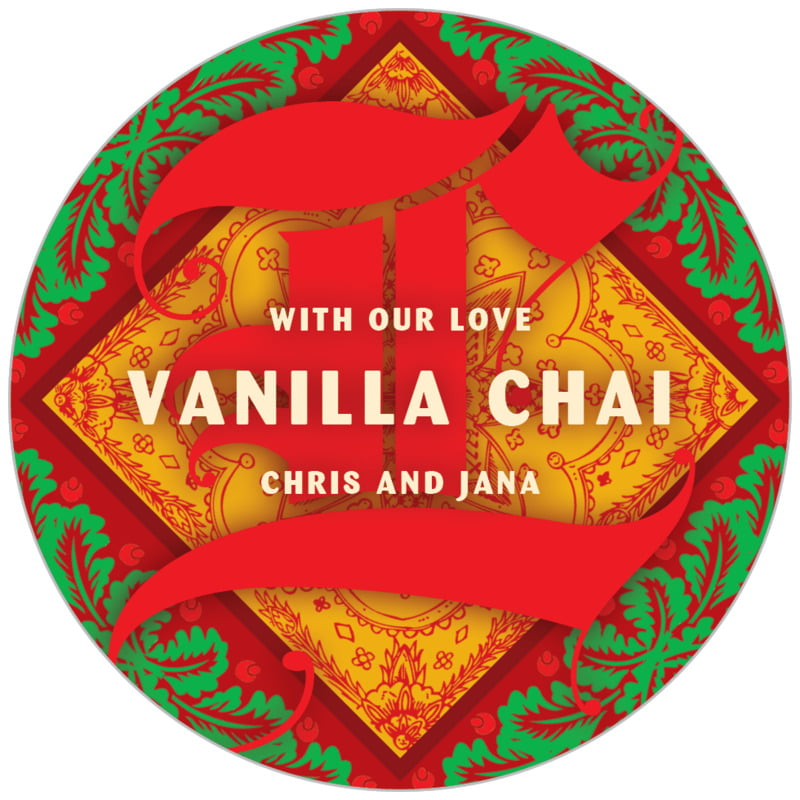 circle food/craft labels - red - raj (set of 20)