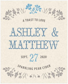 Rustic Blooms wedding wine labels