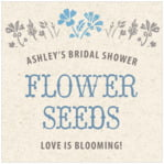 Rustic Blooms Square Label In Blue