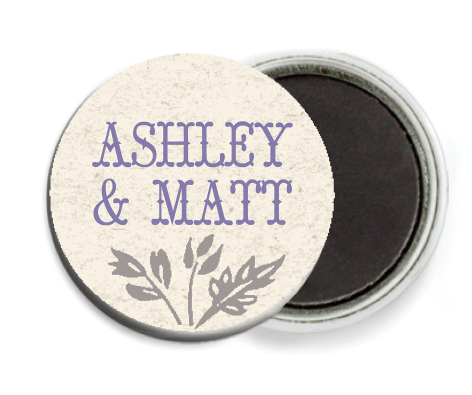 custom button magnets - lavender - rustic blooms (set of 6)
