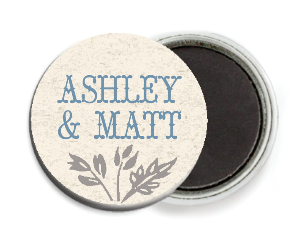 custom button magnets - blue - rustic blooms (set of 6)