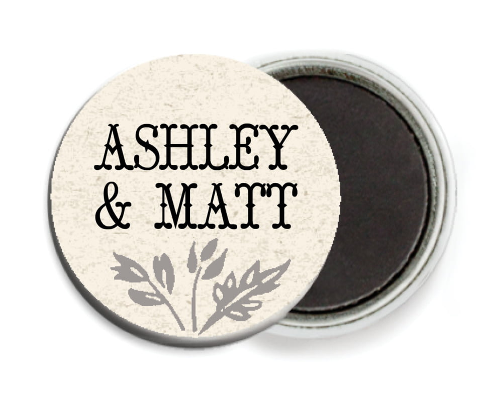 custom button magnets - tuxedo - rustic blooms (set of 6)