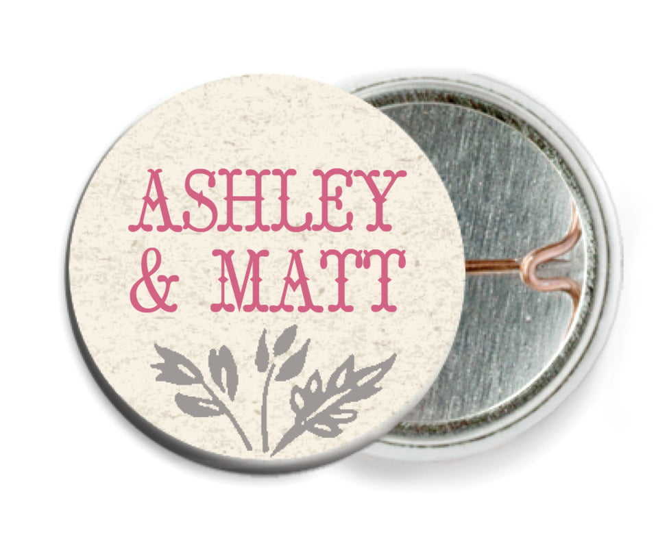 custom pin back buttons - bright pink - rustic blooms (set of 6)