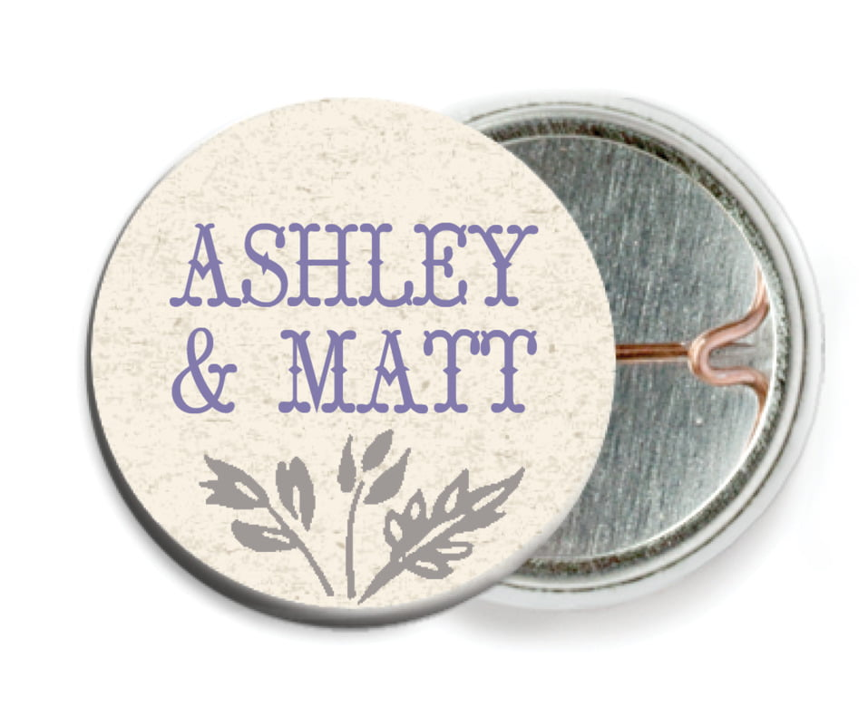 custom pin back buttons - lavender - rustic blooms (set of 6)