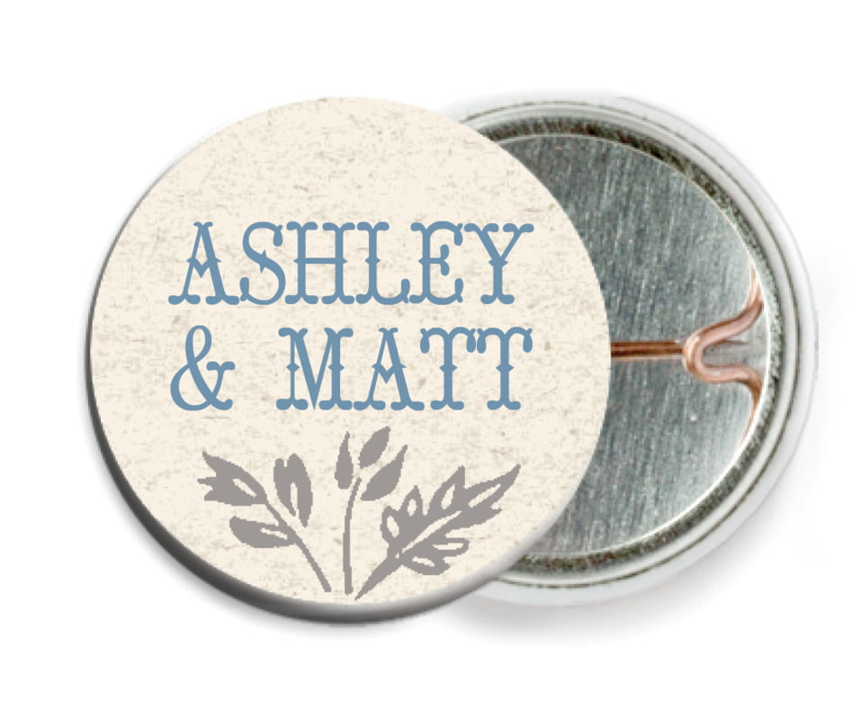 custom pin back buttons - blue - rustic blooms (set of 6)