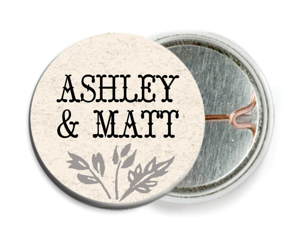 custom pin back buttons - tuxedo - rustic blooms (set of 6)