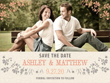 custom save-the-date cards - tangerine - rustic blooms (set of 10)