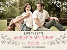 custom save-the-date cards - bright pink - rustic blooms (set of 10)