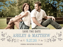 custom save-the-date cards - blue - rustic blooms (set of 10)