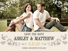 custom save-the-date cards - tuxedo - rustic blooms (set of 10)