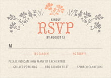 custom response cards - tangerine - rustic blooms (set of 10)