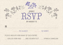 custom response cards - lavender - rustic blooms (set of 10)