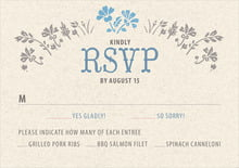 custom response cards - blue - rustic blooms (set of 10)