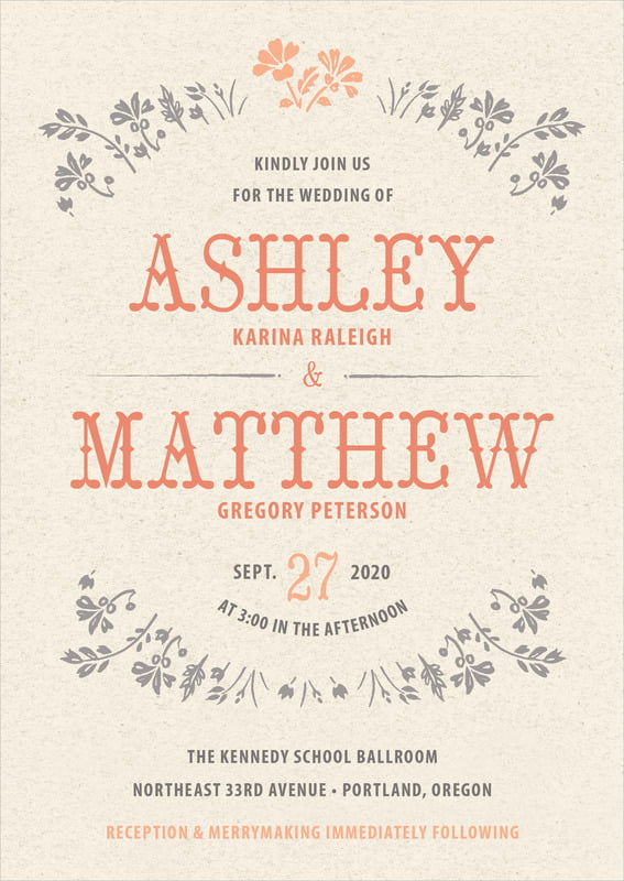 custom invitations - tangerine - rustic blooms (set of 10)