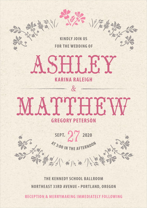 custom invitations - bright pink - rustic blooms (set of 10)