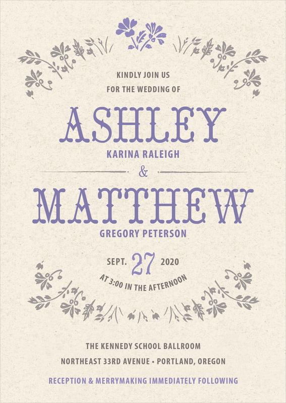 custom invitations - lavender - rustic blooms (set of 10)