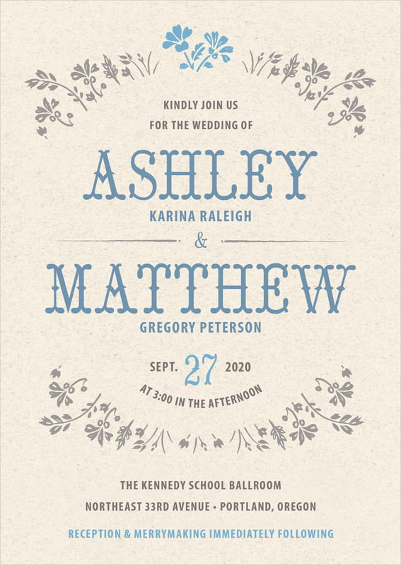 custom invitations - blue - rustic blooms (set of 10)