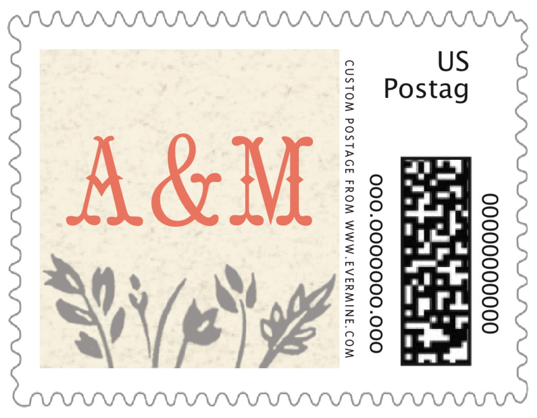 small custom postage stamps - tangerine - rustic blooms (set of 20)