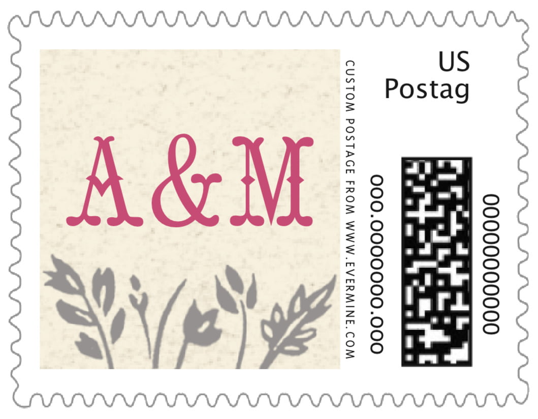 small custom postage stamps - bright pink - rustic blooms (set of 20)