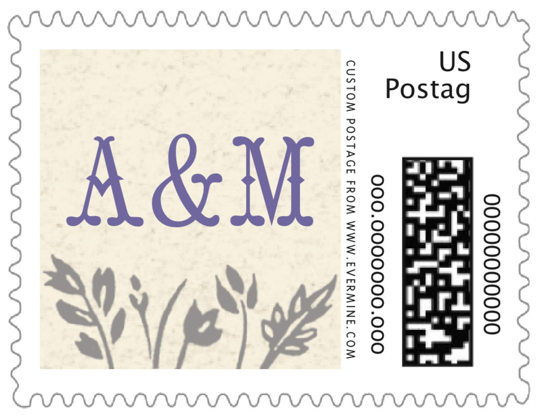 small custom postage stamps - lavender - rustic blooms (set of 20)