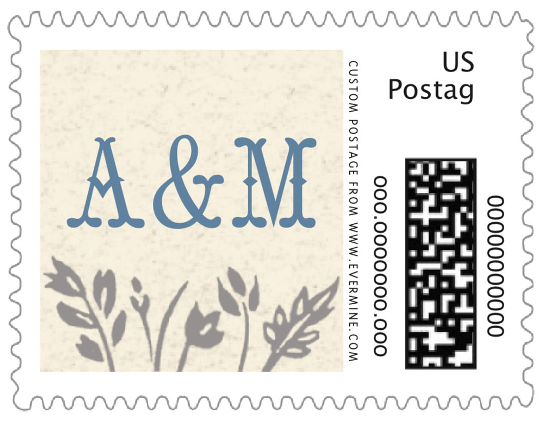small custom postage stamps - blue - rustic blooms (set of 20)